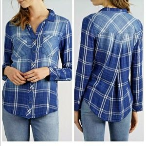 Thread and Supply Blue Plaid Button Down Shirt- M